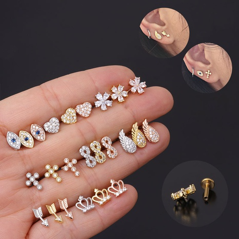 New fashion micro-inlaid zircon piercing earrings NHEN299954's discount tags