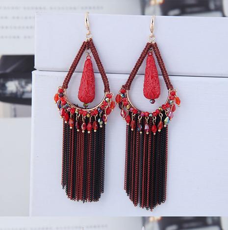 Korean retro tassel long earrings NHSC299835's discount tags