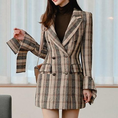 manteau veste rétro à carreaux avec revers NHUO301807's discount tags