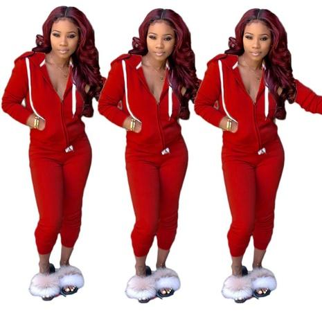 nouveau costume deux pièces de sport de mode de couleur unie NHIS301809's discount tags