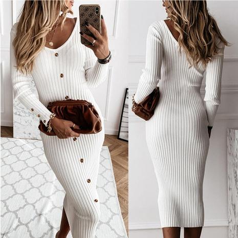 nouvelle robe à manches longues et col en V NHJG301792's discount tags