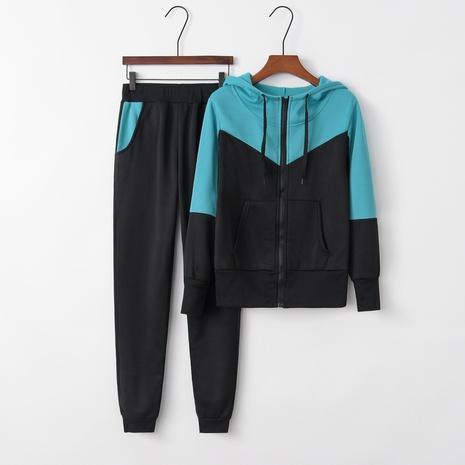 nouveau costume de sport décontracté deux pièces pull à capuche couture de mode NHIS301801's discount tags