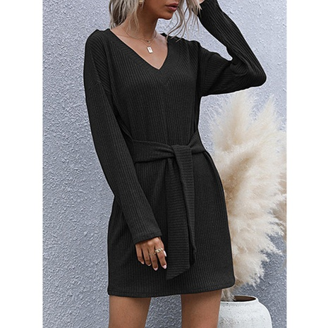 nouvelle robe à manches longues de couleur unie NHJG301797's discount tags