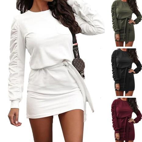 nouvelle robe nouée pull à manches longues de couleur unie NHJG301794's discount tags