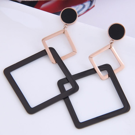 fashion titanium steel geometric square exaggerated earrings NHSC301091's discount tags
