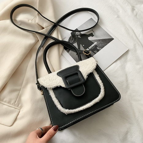 new trendy lamb hair portable small square bag NHRU300427's discount tags