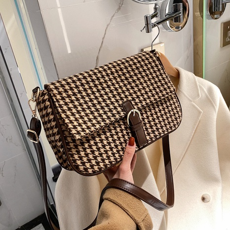 new korean houndstooth plaid underarm baguette bag  NHJZ300558's discount tags