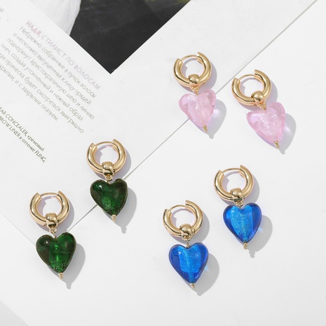Retro glass heart-shaped earrings NHLL300590's discount tags