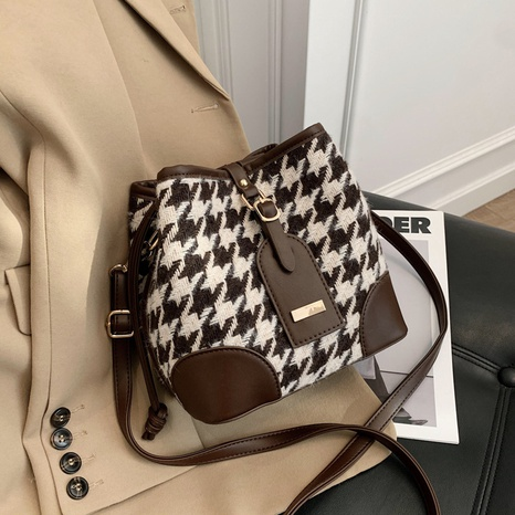 retro houndstooth bucket bag  NHTG300608's discount tags