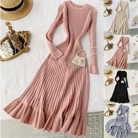 nouvelle robe longue en queue de poisson tricotée NHJC301781's discount tags