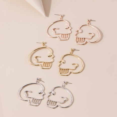 Hollow human skull earrings NHQC301683's discount tags