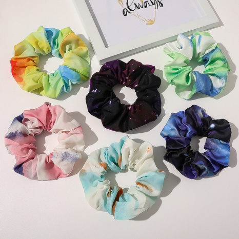 Chiffon starry hair band tie-dye gradient color hair accessories wholesale NHQC301682's discount tags