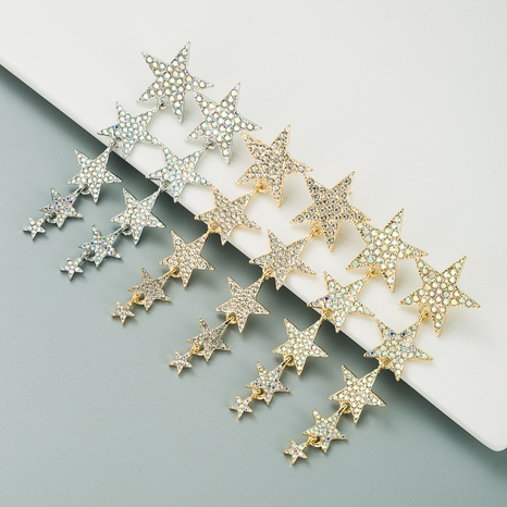 alloy five-pointed star long earrings  NHLN300692's discount tags
