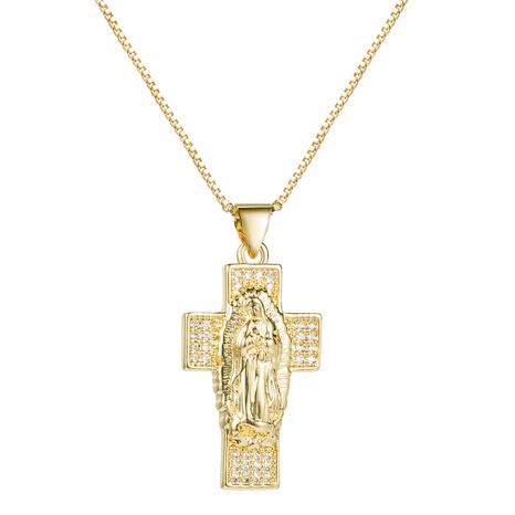 collar retro de la Virgen María con colgante de cruz de cobre con incrustaciones de circonitas NHLN300694's discount tags