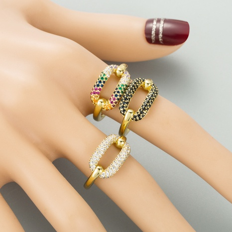simple exaggerated copper inlaid color zircon fashion ring NHLN300709's discount tags