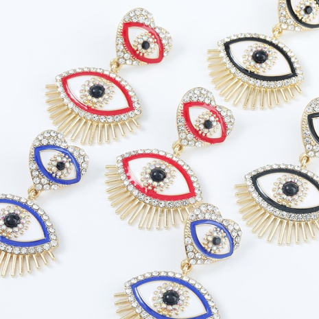 Legierung herzförmige Augenböhmische Ohrringe NHJE300729's discount tags