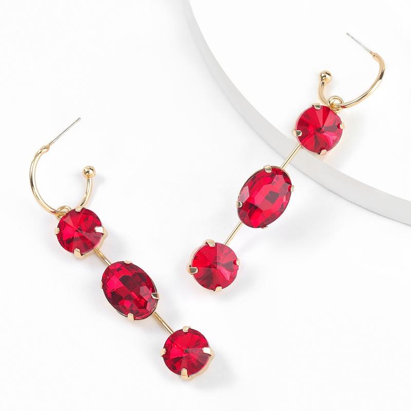 alloy oval glass earrings NHJE300739