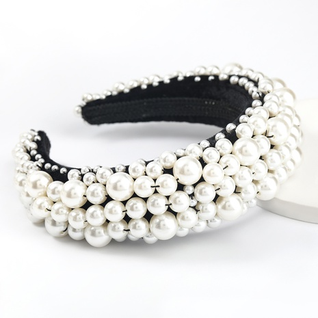 fashion velvet fabric full of pearl headband NHJE300745's discount tags