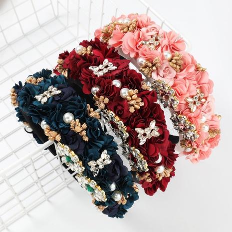 bandeau éponge perle incrusté de diamant fleur de mode NHJE300750's discount tags
