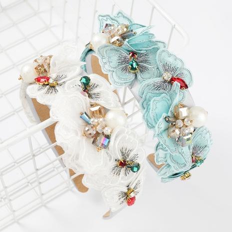Diadema de perlas con incrustaciones de diamantes de flores de encaje sexy de moda NHJE300752's discount tags