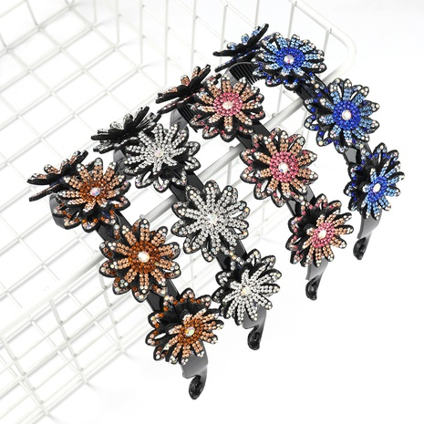 bandeau à fleurs multicouche en acrylique incrusté de diamants NHJE300754's discount tags