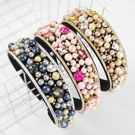 Diadema de ala ancha de perlas con incrustaciones de diamantes de franela de moda NHJE300757's discount tags