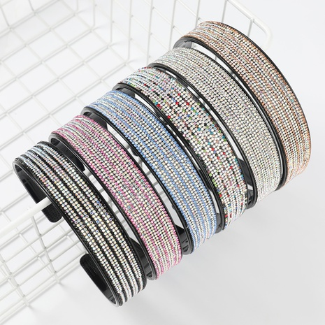 Serre-tête à larges bords en acrylique incrusté de diamants NHJE300763's discount tags