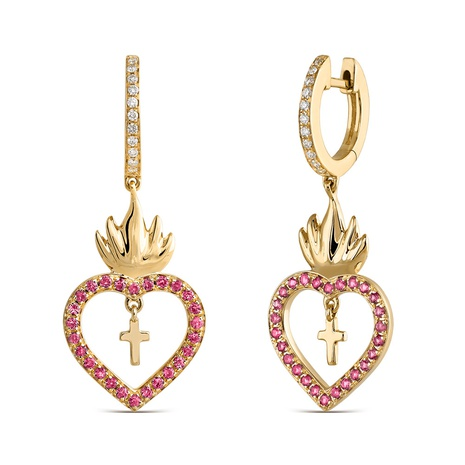 copper inlaid zircon cross heart-shaped earrings NHJQ300775's discount tags