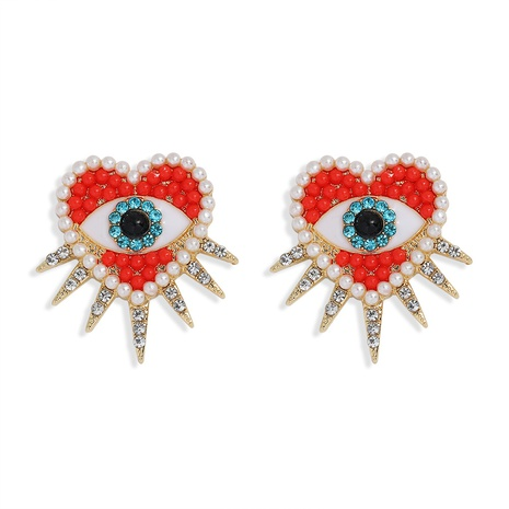 fashion demon eye heart diamond earrings NHJQ300777's discount tags
