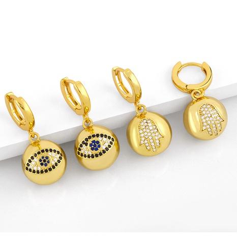 simple devil eye palm earrings  NHAS300805's discount tags