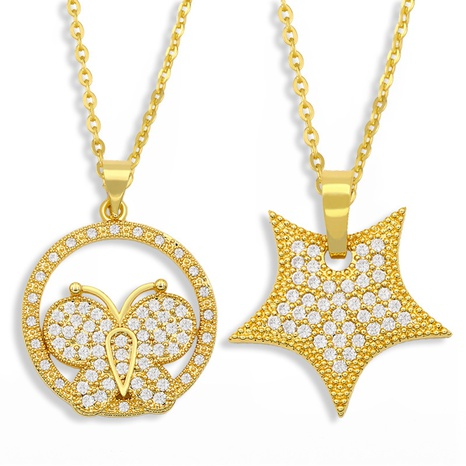 collier papillon en diamant de mode NHAS300811's discount tags