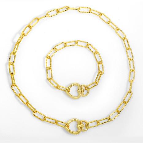 collar retro de clavícula de metal con corazón NHAS300824's discount tags