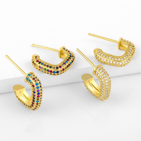 Micro inlaid color diamond C-shaped earrings NHAS300830's discount tags