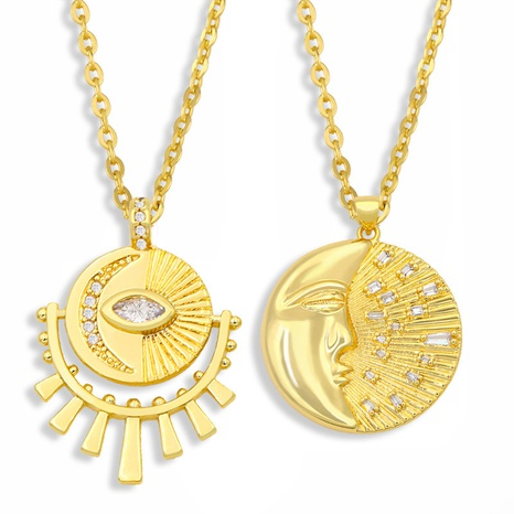 retro diamond stainless steel necklace NHAS300833's discount tags