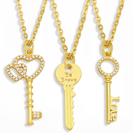 diamond-studded heart key necklace  NHAS300837's discount tags