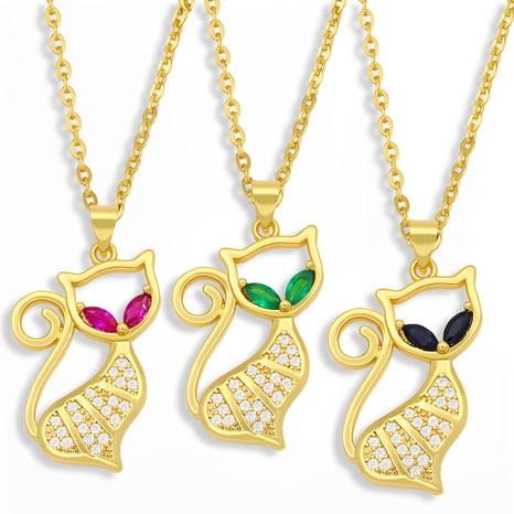cute cat titanium steel necklace NHAS300838's discount tags