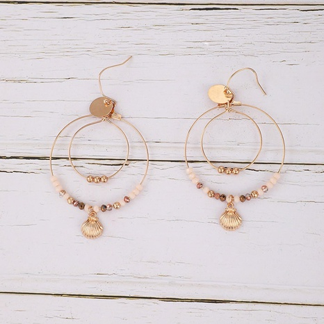 Doppelkreis-Ohrringe aus legierter Jakobsmuschel NHGY300863's discount tags