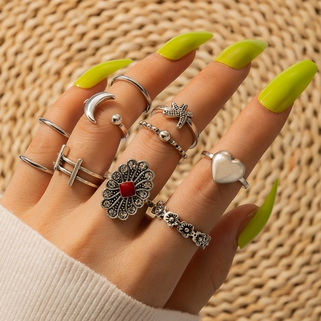 Starfish Love Heart Flower Moon Open Ring 10-Piece Set NHGY300865's discount tags