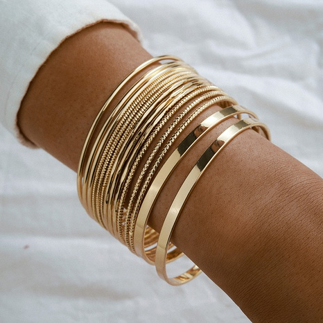 fashion golden smooth bracelet set NHGY300871's discount tags