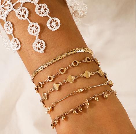 retro multi-layered geometrical tassel 5-piece bracelet NHGY300874's discount tags