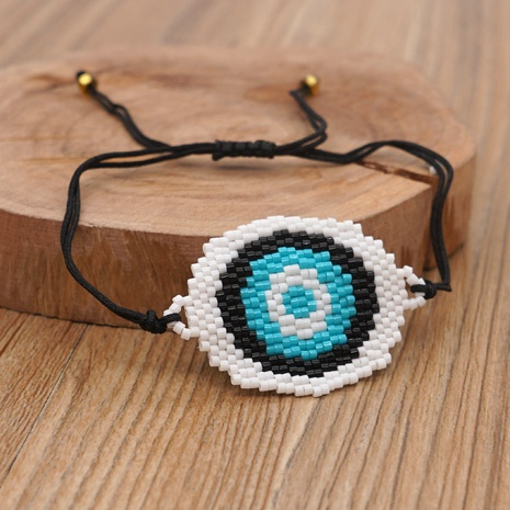 Fashion ethnic style popular blue eyes Miyuki rice beads woven bracelet NHGW300916's discount tags