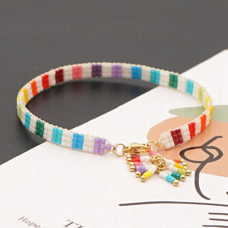 Böhmische Mode Regenbogen Perlen Quaste Armband NHGW300917's discount tags