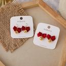 Red bow bell 925 silver needle stud earrings  NHMS300942