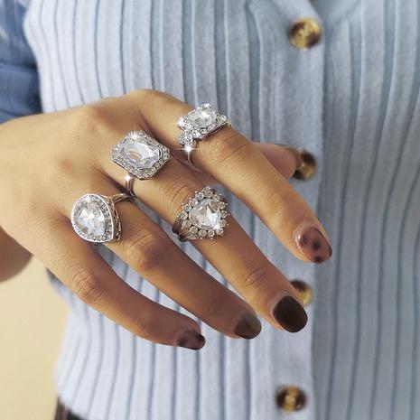 ensemble de quatre bagues en forme de coeur diamant simple mode NHXR301007's discount tags