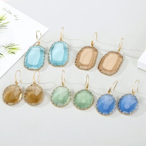 Pendientes de cristal facetado de forma irregular de cristal redondo de nueva moda NHGO301015's discount tags
