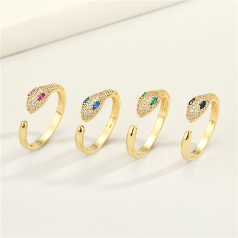 new fashion copper micro-inlaid zircon snake ring NHGO301024's discount tags