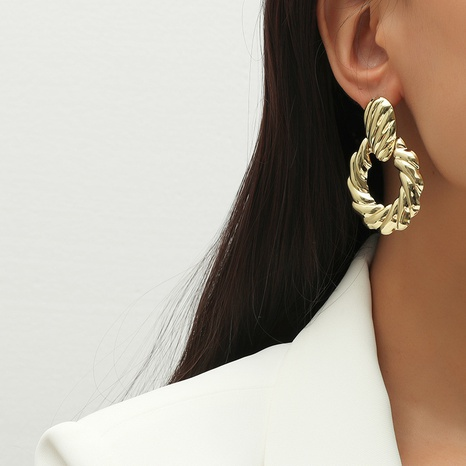 retro circle geometry exaggerated earrings NHKQ301071's discount tags
