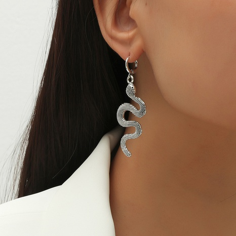 Retro exaggerated snake-shaped earrings  NHKQ301072's discount tags