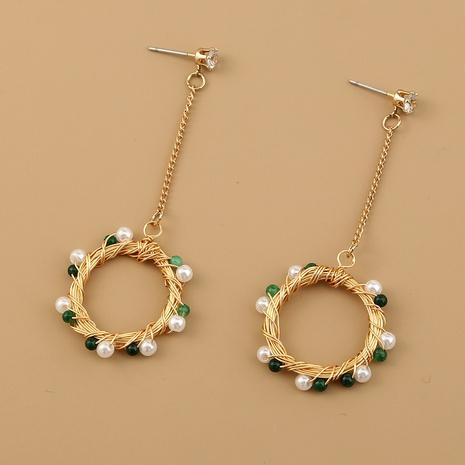 Retro-Ohrringe aus grünem Naturstein NHAN301122's discount tags