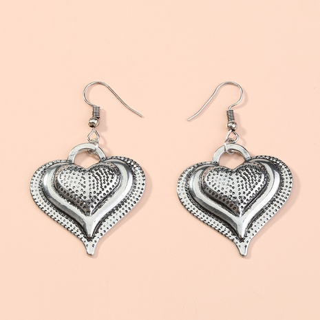 retro silver heart earrings NHAN301124's discount tags